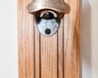 Wallmount Bottle Opener with Magnetic Cap Catcher