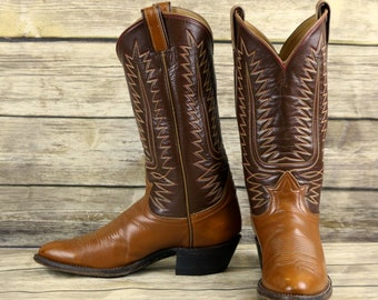 Tony Lama Cowboy Boots Brown Leather Mens Size 9 B Narrow Classic Western Vintage
