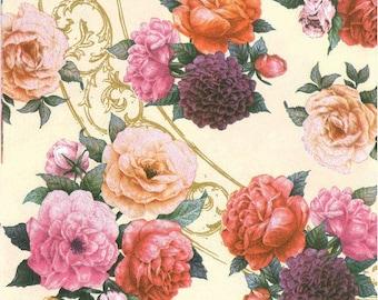 2 paper napkins roses (322)