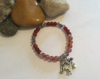 "Hand Made ""I Love My Dog"" Glass Beaded Stretch Bracelet with Pug/Bulldog Breed Dog Charm"