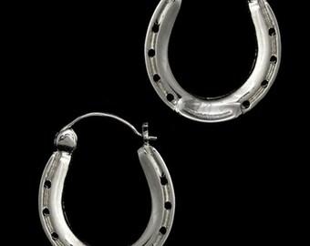 Horseshoe Hoops, Horseshoe Hoop Earrings, Horse Hoops, Horse Earrings, Horseshoe Jewelry, Equestrian jewelry, Horseshoe Earrings