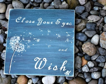 saying plaque wood sign wish blue dandelion blowing wind eyes acrylic paint personalize decoration design decor country make original hand
