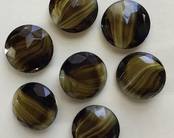 Vintage Givre Swirled Glass Jewels, Givre Glass, Brown Givre Glass With Swirls, Faceted Jewels, Pointed Bottoms, Flat Tops, 25mm, 7 Pieces