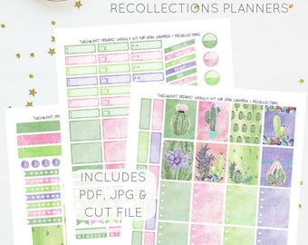 Succulent Dreams - Weekly Kit for Erin Condren / Recollections Planners   Printable Planner Stickers   Includes PDF, JPG, and Cut File