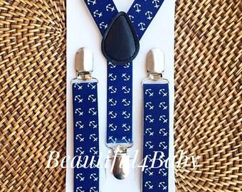 Anchor Toddler Suspenders, Navy Anchor Little Boy Suspenders, Anchor Toddler Suspenders, Anchor Baby Suspenders, Anchor Baby Boy Suspenders