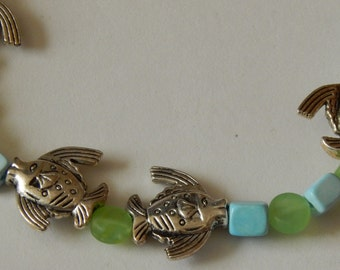 Swimming fish opaque green and light blue chalk turquoise beaded fish necklace