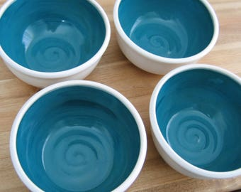 Pottery Soup Bowls or Cereal Bowls in Peacock Blue /Green - Set of 4 Stoneware Ceramic Bowls, Foodie Gift