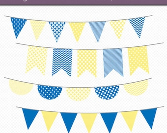 Yellow and Blue Bunting Clipart Digital Art Set Banner Flag INSTANT DOWNLOAD Banner Clipart Bunting Clipart