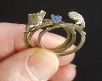 Morocco - Old Berber Jewish engagement or silver wedding ring - from Tinghir village