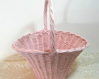 Pink Wicker Basket Vintage Cottage Style Shabby Basket
