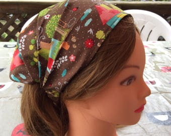 Forest houses cotton child bandana, baby girl headscarf, wide headband, toddler hair wrap, baby bandana, boy bandana, pool sports danse
