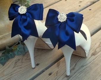 Shoe Clips, Bridal Shoe Clips,  Bridal Accessories,  wedding accessories,  navy blue shoe clips, satin shoe clips  wedding shoes clips