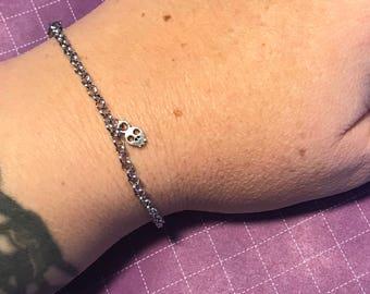 Mini Skull Charm Silver Bracelet