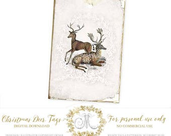 Deer Christmas gift tag printables, instant digital download, Personal use only