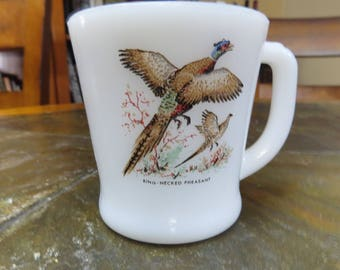 Fire King Anchor Hocking Coffee Mug with Ringnecked Pheasant Painted Design