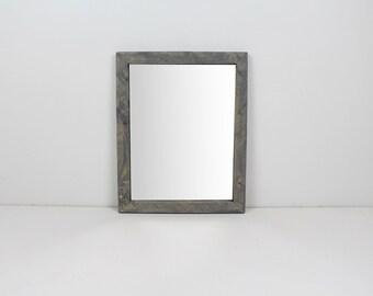 Solid Wood Gray Rustic Modern Wall Mirror/ Bathroom Mirror/ Vanity Mirror/ Entryway Mirror
