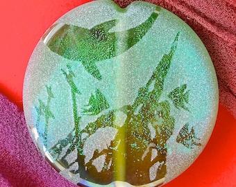 "Lampwork Beads ""Secrets of the Deep"" Handmade Sandblasted Dichroic Glass SRA ~ Iridescent Lustre Picture Bead ~ Sea Tones"