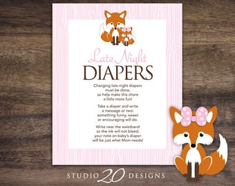 Instant Download Pink Fox Late Night Diapers, 8x10 Pink Woodland Diaper Thoughts, Forest Friends Baby Shower Decorate Diaper Activity 65B