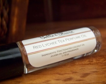 Red Lychee Tea Perfume Oil- Rooibos, Lychee, Lily, Geranium- Roll On Perfume