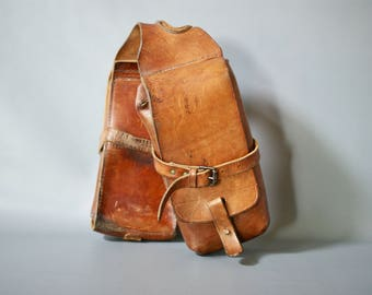 Vintage Leather Saddle Bags, Leather Panniers, 1960s Leather Packsaddle Bags, Brown Leather Panniers, Swiss Leather Saddle Bags, Swiss Army