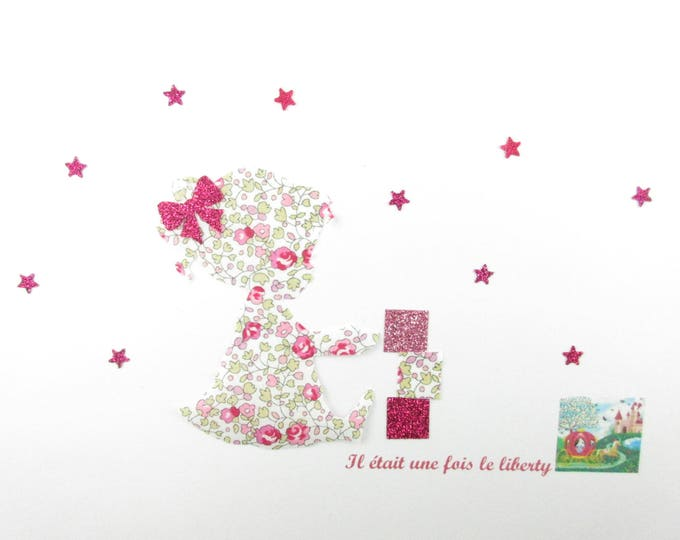 Applied shape in your little girl who made cubes flex & liberty Eloise pink glittery patch iron on little girl baby coat