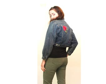 80s Crop Denim Jacket Med /Lrg