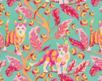 Tula Pink Tabby Road Disco Kitty Strawberry Fields fabric by the yard