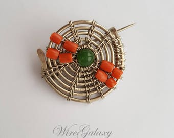 Round Brooch Everyday for Women Coral Chrysoprase Wire Wrapped  Anniversary Gift Brooch Art Deco Brooch Elegant Talisman Lack WireGalaxy