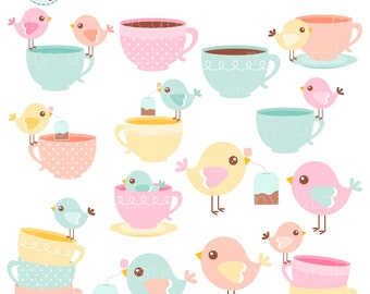 Pastel Birds and Teacups Clipart Set - birds with teacups, teabags, cute birds, bird - personal use, small commercial use, instant download