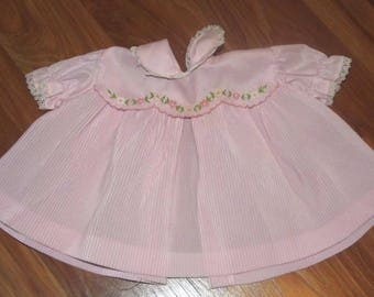 Vintage Pink Baby Dress Embroidered Bodice 0-3 Months?