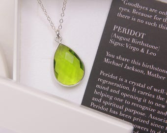 August Birthstone Necklace - Green Peridot necklace for women - Delicate jewelry - Peridot Jewelry - Timeless design - Silver jewelry