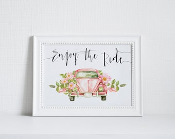 "PRINTABLE Art ""Enjoy the Ride"" Typography Art Print Car Art Print Floral Car Pink Car Pink Floral Art Print Home Decor Motivational Quote"