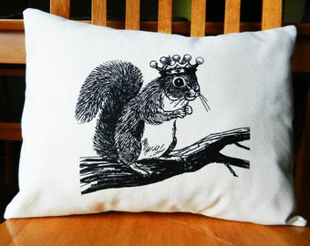 """Squirrel Pillow Cover, Squirrel Wearing a Crown, Woodland Decor, Squirrel Throw Pillow Cover, Screen Printed, fits 12 x 16"""" pillow form"""
