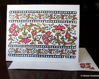 Block Printed Card, Indian Theme Card, Hand Painted Kraft Card- Indian Vines Border