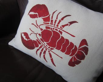 """Small 12x16"""" red lobster throw pillow, hand stenciled"""