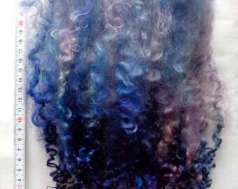 "18g (62.22 Euro/100g) 0.6oz hand dyed long wensleydale locks, wool locks, long curls, felting, dolls hair, blue, purple, 8-10"", 100% wool"
