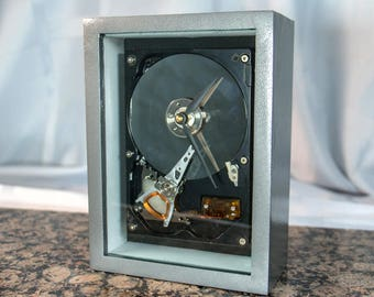 Silver Handmade clock from a recycled hard drive-Great Techie gift or for anyone who loves computer things. For Technician or Engineer.