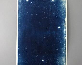 Large Linen Mounted Star Field Cyanotype Signed