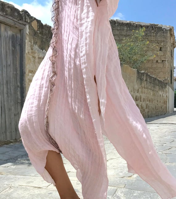 CLEO long poncho. PINK dreamy kaftan. Long linen coverup. Airy tunic with lace.