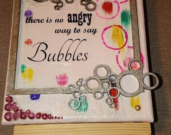 Hand-made Art Bubbles and Easel.
