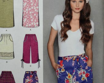 Uncut 2010 Simplicity Sewing Pattern 2258; Size 6-14; Misses' Pull On Skirt in 3 Lengths, Capri Pants and Shorts
