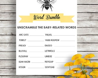 Word Bumble - Bee Baby Shower Game - Neutral Shower