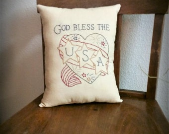 primitive patriotic Americana hand stitched pillow, God Bless The USA pillow tuck, OFG, FAAP, Independence Day pillow, Veterans Day, July 4
