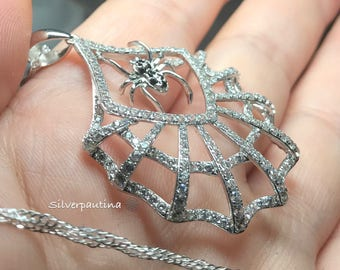 Sterling silver spiderweb spider pendant and chain