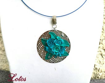 Turquoise Flower Roses Floral Pendant Necklace Polymer Clay Jewelry Inspirational Mother's Day Gift for Woman Her Bar Necklace