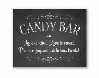 Candy Bar Printable Wedding Sign, Chalkboard Style, Party Sign, Love Is Kind, Love Is Sweet, #CB11C
