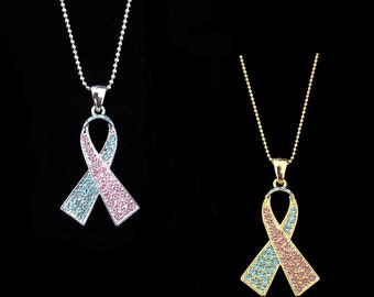 Light Blue Light Pink Ribbon Bow Pregnancy Infant Loss Miscarriage SIDS Infertility Pro-life Awareness Necklace Silver Tone Gold Tone