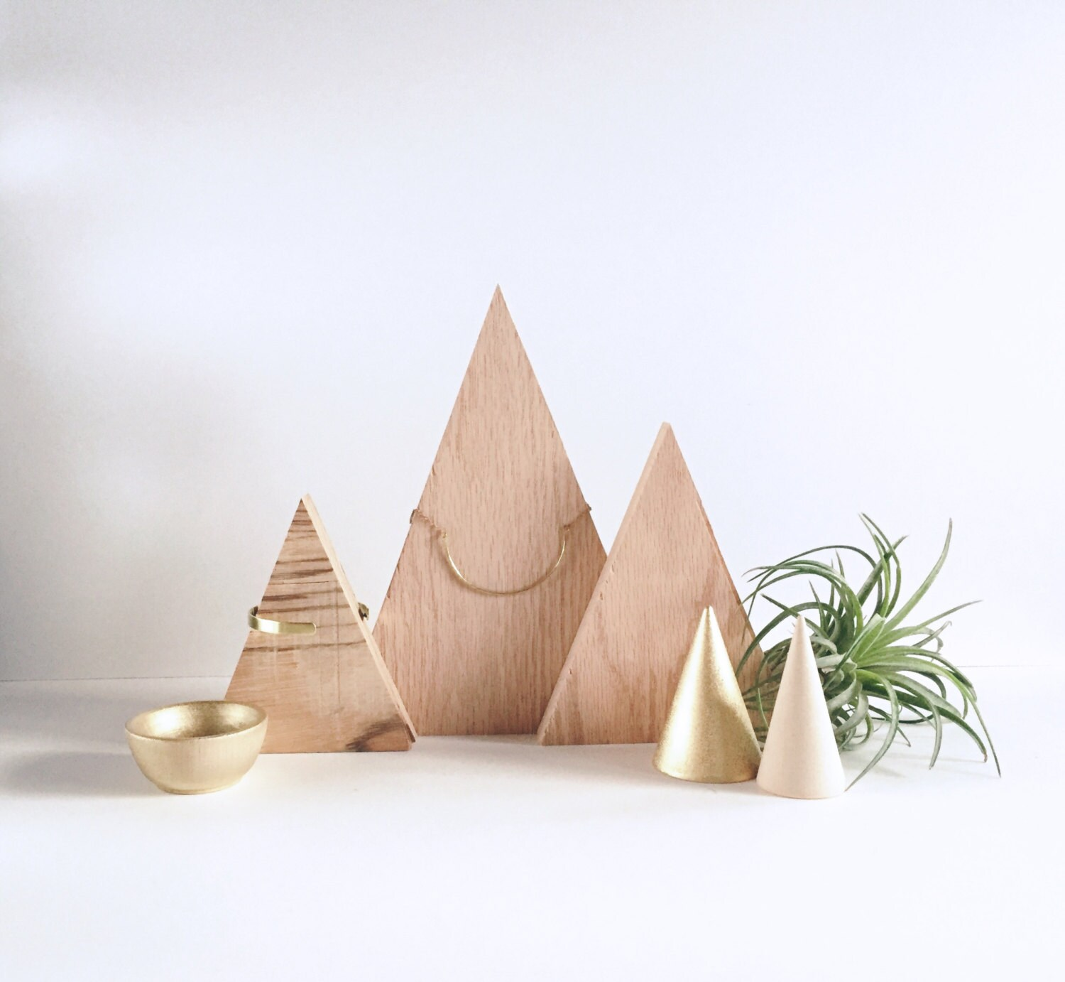 wood triangle necklace display minimal design jewelry, Presentation templates