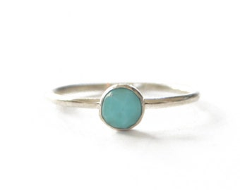 Turquoise Silver Ring, Sterling Silver Stacking Ring, Dainty Ring, Womens Ring, Gifts under 30, Moonstone, Pyrite, Onyx