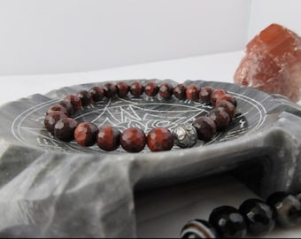 Red Tiger eye and onyx bracelet
